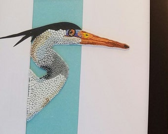 Blue Heron Seed Bead Embroidery