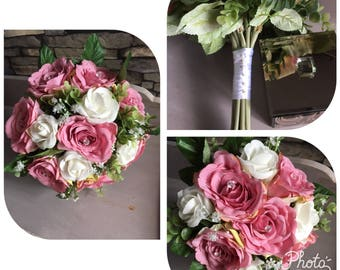 Wedding bouquet and bridesmaid posy pink