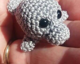 Miniature crocheted manatee