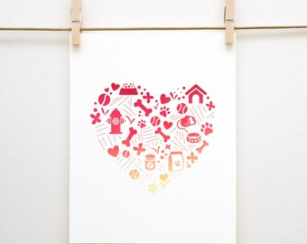 Dog Heart Pattern 8x10 Print // Puppy Love, Romantic, Handmade