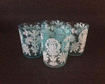 Vintage Juice Glasses Aqua with White Damask Stenciling Set of Four Glasses