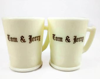 McKee Custard Glass Tom and Jerry Cups Mugs Set of 2 Vintage Barware Drinkware