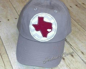 Houston Texas State Embroidered Raggy Patch Trucker or Solid Hat