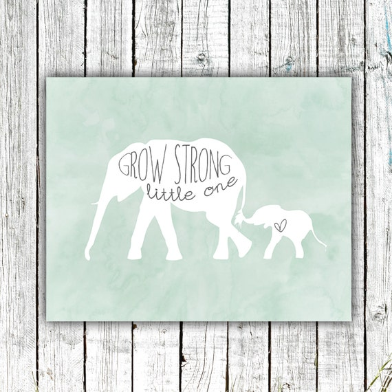 Nursery Wall Art, Elephants, Newborn, Printable Art, Digital Download Size 8x10 #577