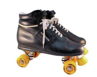 80s Rollerskates Men's 10 // Women's 11 - Black Leather Roller Skates Vintage Variflex Rollerskates Mens Roller Skates Roller Derby