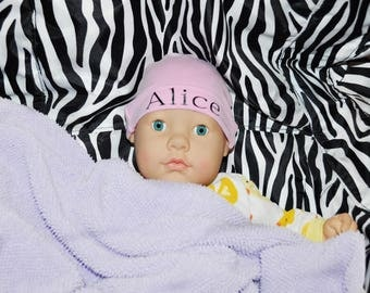 Baby Cap, Monogram Personalized Baby Hat With Name.  Baby Gift, Shower Gift, 1st Hat, Pink Or White Hat.