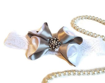 girl vintage headband bow/baby vintage headband bow/girl silver bow/girl white and silver bow/white and silver bow/silver baby headband