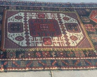 Antique 19th Century Handmade Tribal Caucasian Kazak Rug, Oriental Rug, Tribal Pakistan Rug, Collectible Rug, Antique Area Rug, Qazax Rug