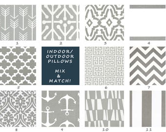Indoor Outdoor Pillow Covers - Grey and White Outdoor Pillow Covers - Grey - Outdoor Pillows - Outdoor Pillow Cushions - Throw Pillow