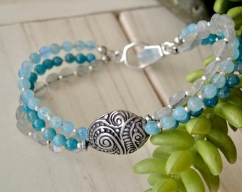 BLUE GLAM Bangle Bracelet Bohemian Apatite Labradorite Aquamarine Hill Tribe Sterling Silver Boutique Artisan Bracelets of Blue Ridge