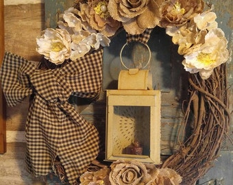 PRIMITIVE Lantern Grapevine Wreath. Farmhouse Wreath, Country Wreath,  Rustic Wreath, Farmhouse Decor, Cottage Wreath, Cottage Decor.