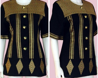 Vintage African Print Top 1990s Gold Embroidery Blouse Size Medium