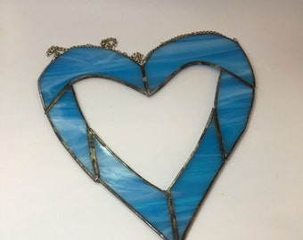 stained glass heart turquoise