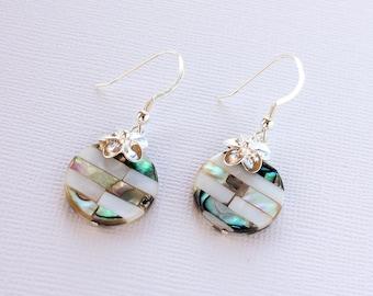Abalone Plumeria Charm Earrings, Paua Frangipani Earrings, Hawaiian Earrings, Beach Wedding Earrings, Gifts for Her, Bridesmaid Gifts, Shell