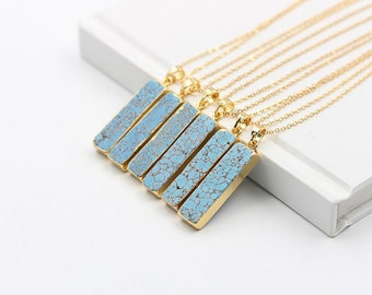 Turquoise Bar Necklaces -- With Electroplated Gold Edge Choker Jewelry Supplies Wholesale Bridesmaid Necklaces YHA-140