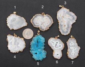 Druzy Pendants -- With Electroplated Gold Edge Charms Wholesale Supplies Drusy Geode YHA-272