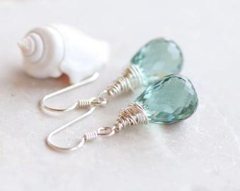 Green Quartz Earrings, Pale Green Gem Stone Earrings, Sterling Silver Wire Wrapped Earrings, Green Drop Earrings, Sparkly Green Earrings