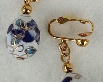 Asian clip on earrings cloisonné glass egg floral blue shades