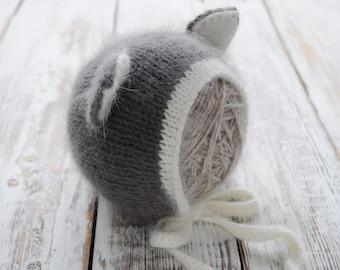 Newborn knit Angora Bonnet. Angora Bonnet. Photo prop Hat. Newborn Bonnetk. Kitty bonnet. Cat bonnet. Hat with ears