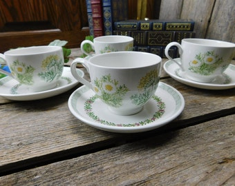 Set of 4 Vintage Portmeirion - Garden Herbs - The National Trust - Cups and Saucers - Pat Albeck