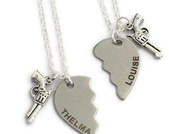 2 Friendship Necklaces, Thelma & Louise Jewelry, Best Friends Pair, My Crime Partner, Broken Heart Set, Graduation Gift for Twin Sister