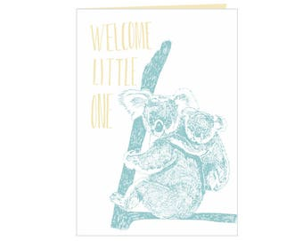 Koala and joey babyshower card - Welcome little one - koalas - Newborn - new baby card - beautiful nature - hand drawn card - eco