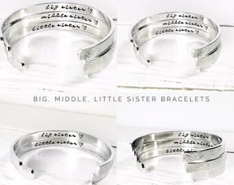 Sisters Gift | Big Sister | Middle Sister | Little Sister | Personalised Sister Bracelets | Personalised Jewelry | Set of 3 | (C049)