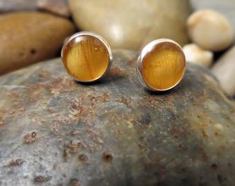 Yellow Ranunculus Post Earrings - Pressed Flower Earrings (Silver) - 8mm Post Earrings