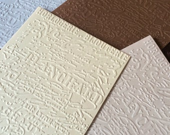 French Script Bijouterie Embossed Stationary/ Set of 10 cards 10 envelopes/Specialty Handmade Blank Notecards