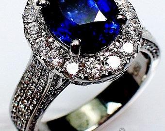 Platinum Sapphire Ring, 2.58 ct Blue Oval Cut Natural Ceylon Sapphire - 3100