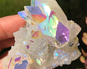 Angel Aura Stalactite, Apophyllite Crystal, Crown, Third Eye Chakra Crystal Magick, Divination, Metaphysical,  ZeoA1-0416