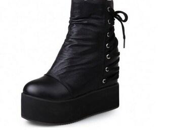 Free shipping! Nu goth boots, platform 90's boots, vaporwave, Comfort Wedge Shoes Lace Up Zippper Platform, CYBERPUNK BOOTS, 90'S GOTH