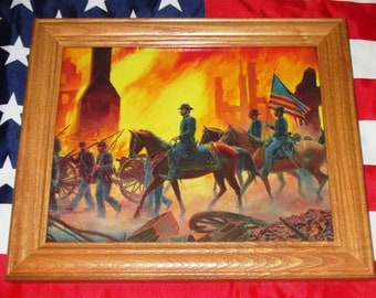 Framed Civil War Painting, Mort Kunstler, GENERAL SHERMAN, Burning of Atlanta