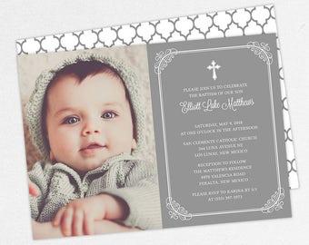 Photo Baptism Invitation, Christening Invitation, Boy Baptism Invitation, Printable Baptism Invitation, Invite PDF, Modern, Gray, Elliott