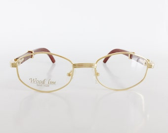 Wood Line Eyewear, Gold and Wood Eyeglasses, Hexagon Gold Plated Glasses, Brown Bamboo Temple Arms, Vintage Dead Stock Eyeglass Frames
