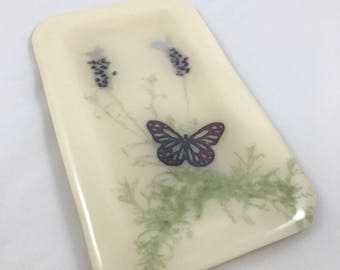 Fused Glass Lavender Plant with Copper Butterfly Fossil Vitra Trinket Dish / Soap Dish (002)