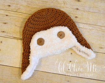 READY TO SHIP~Handmade Crochet Baby Aviator Hat!