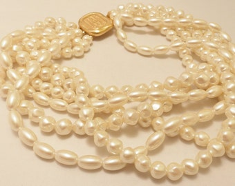 Vintage Gold Tone Carolee Multi Strand Faux Pearl Necklace