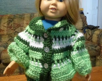 Doll Sweater, Fits, 18 Inch Doll, 20 inch Doll, 24 inch Doll, Clothes, Doll Cardigan, Sweater, Crocheted Sweater, Cardigan, 24 inch,18 inch