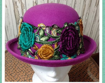 SALE Customised Fuschia Pink Bowler Hat Embellished with Floral Trim // Unique Hat, Customised Hat // Festival Style,