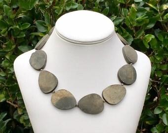 Metallic Gemstone Necklace Silver Necklace Gold Necklace Bronze Necklace Gold Gemstone Necklace Silver Gemstone Necklace Statement Necklace