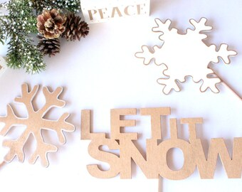 """Wooden Photo Booth Props, Christmas Props, """"Let It Snow"""" word props, Word Art, Photo Booth Props, Party Props, Wood Props"""