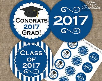 Blue Graduation Cupcake Toppers - Printable 2017 Graduation Decorations - Royal Blue Class of 2017 Graduation Party Printable