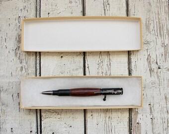 Christmas Gift Wooden Pen, Walnut Wood Bolt Action Bullet Pen, Rifle Clip, .30 Caliber, Deer Hunting Gun, Gift for Men, Black Enamel Gun