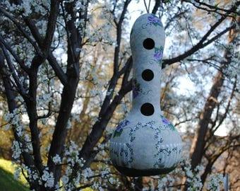Violets in the Garden Gourd Birdhouse