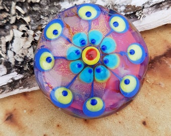 "Handmade Lampwork glass cabochon ""Ornament"""