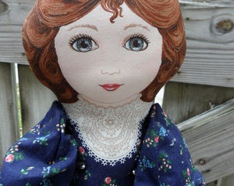 "Vintage Ragdoll Victorian Revival Cloth Dolls Handmade English Country Folk Art Fabric 22.5"" Rag Doll Victorian Doll Fabric Dolls Soft Doll"