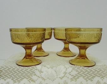 Amber Pedestal Dessert Dishes ~ Set of 4 ~ Grape Design ~ 1970s Retro Harvest Gold ~ Marigold Grape Dish ~ Sherbet Bowl