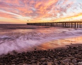 Large Sunset wall art, Ventura Pier, California Coast, large print, or ready to hang canvas wall art, beach photography decor