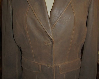 Isabella Bird ~ Leather Blazer ~ Semi Fitted ~ Awesome ~ Stylish ~ Mint ~ Recycled ~ Vintage ~ Womens Size XL ~ Mens L